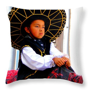 Cuenca Kids 194 Throw Pillow by Al Bourassa