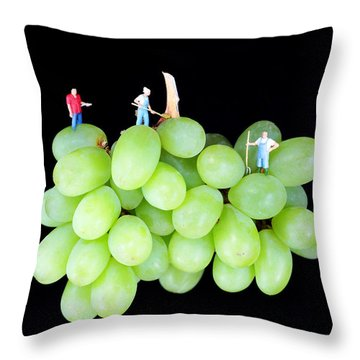 Cultivation On Grapes Throw Pillow by Paul Ge