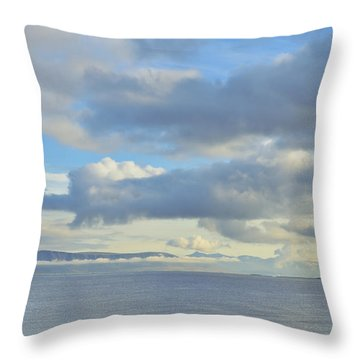 Throw Pillow featuring the photograph Cumulus Clouds Sea And Mountains Reykjavik Iceland by Marianne Campolongo