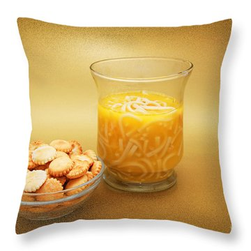 Cup O Soup And Oyster Crackers Throw Pillow by Andee Design