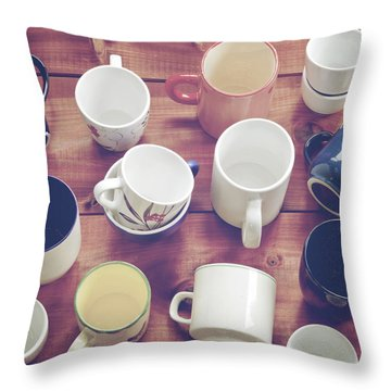 Cups Throw Pillow by Joana Kruse