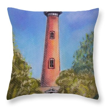 Throw Pillow featuring the pastel Currituck Lighthouse Nc by Julie Brugh Riffey