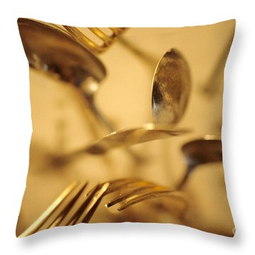 Cutlery Vortex Throw Pillow by Bruce Stanfield