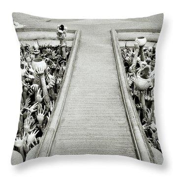 Cycle Of Rebirth At Wat Rong Khun In Thailand Throw Pillow by Shaun Higson