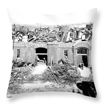 Cyclone Damage, 1896 Throw Pillow by Science Source