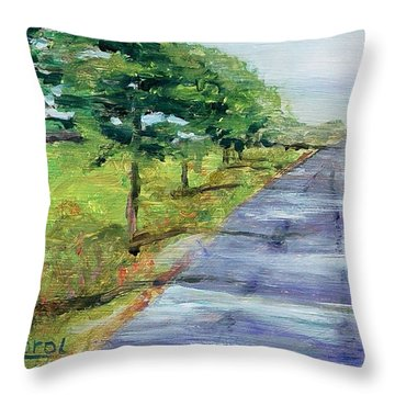 Throw Pillow featuring the painting Cypress Lane by Carol Berning