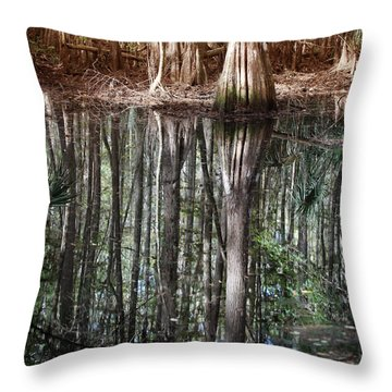 Cypress Swamp Reflections Throw Pillow by Joseph G Holland