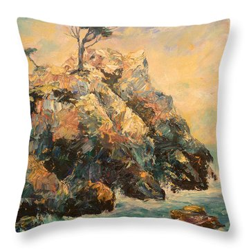 Cypress Tree Throw Pillow by Carolyn Jarvis