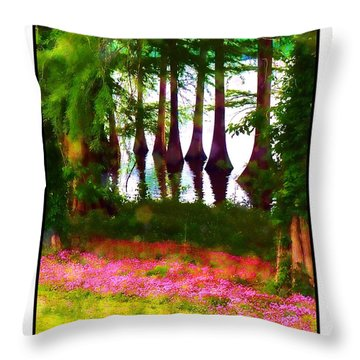 Cypress With Oxalis Throw Pillow by Judi Bagwell
