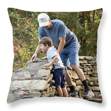 Throw Pillow featuring the photograph Daddy And Son by Darleen Stry