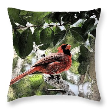 Throw Pillow featuring the photograph Daddy Cardinal by Donna G Smith
