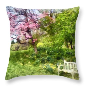 Daffodils By Bench Throw Pillow by Susan Savad