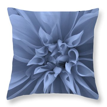 Dahlia In Blue Throw Pillow by Bruce Bley