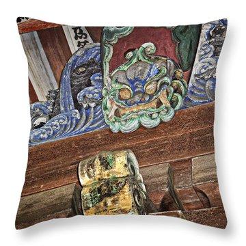 Daigoji Temple Gate Gargoyle - Kyoto Japan Throw Pillow by Daniel Hagerman