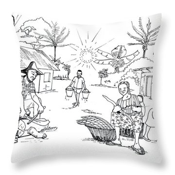 Daily Life In South And Center Cameroon 03 Throw Pillow by Emmanuel Baliyanga