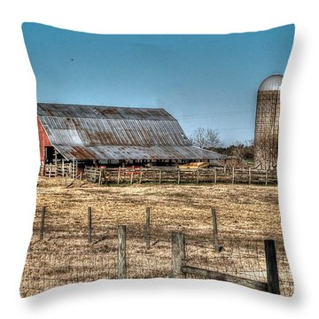 Dairy Barn Throw Pillow by Michael Thomas