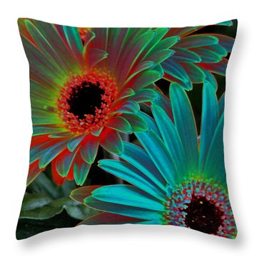Daisies From Another Dimension Throw Pillow by Rory Sagner
