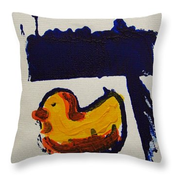 Throw Pillow featuring the painting Daled Is For Duck Hebrew Letter Alphabet Yellow Orange Blue Duckling Childrens Sleepy Kids Room by M Zimmerman