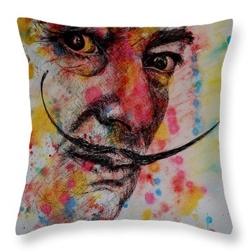 Throw Pillow featuring the painting Dali by Lynn Hughes