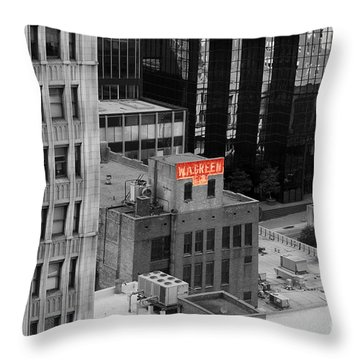 Throw Pillow featuring the photograph Dallas Texas Red Color Splash Black And White by Shawn O'Brien