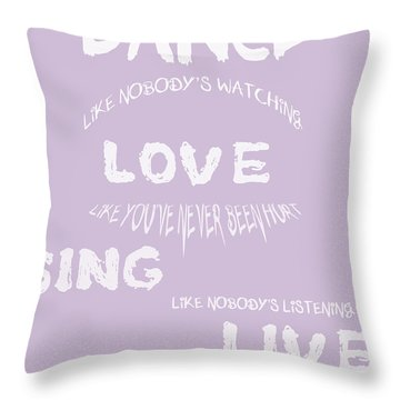 Dance Like Nobody's Watching - Lilac Throw Pillow by Georgia Fowler