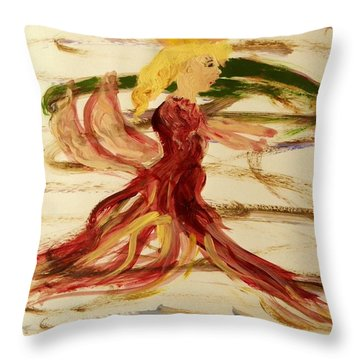 Dancing Angel Throw Pillow by Mary Carol Williams