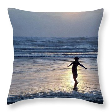 Dancing Boy At Sunset Throw Pillow