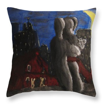 Throw Pillow featuring the painting Dancing Figures With Barn Duck And Cityscape Under The Moonlight.  by M Zimmerman