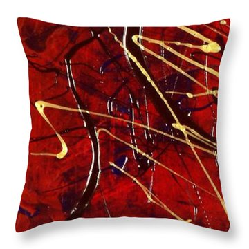 Throw Pillow featuring the painting Dancing Gold by Carolyn Repka