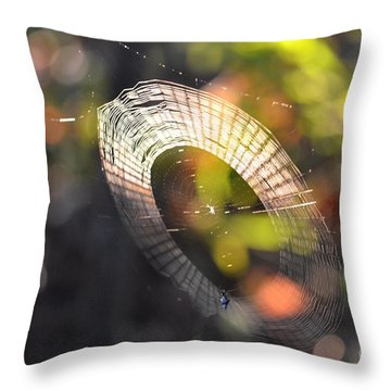 Dappled Web Of Deceit Throw Pillow by Maria Urso