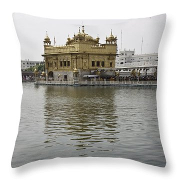 Throw Pillow featuring the photograph Darbar Sahib And Sarovar Inside The Golden Temple by Ashish Agarwal