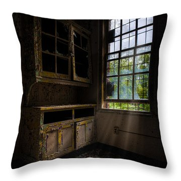 Dark And Empty Cabinets Throw Pillow by Gary Heller
