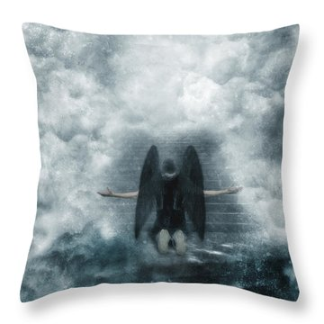 Dark Angel Kneeling On Stairway In The Clouds Throw Pillow by Jill Battaglia
