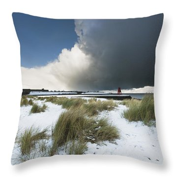 Dark Clouds And Blue Sky Over A Red Throw Pillow by John Short