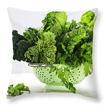 Dark Green Leafy Vegetables In Colander Throw Pillow