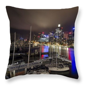 Darling Harbor Sydney Skyline 2 Throw Pillow by Douglas Barnard