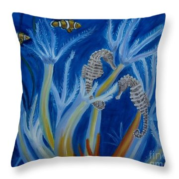 Throw Pillow featuring the painting Date Night On The Reef by Julie Brugh Riffey