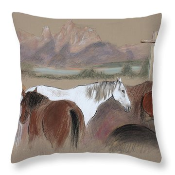Dawn At Triangle X Corrals Jackson Hole Throw Pillow