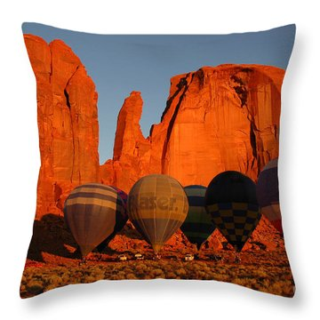 Dawn Flight In Monument Valley Throw Pillow by Vivian Christopher