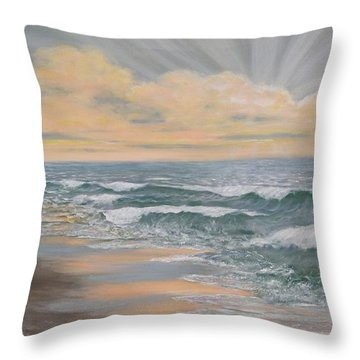 Throw Pillow featuring the painting Dawn Surf by Kathleen McDermott