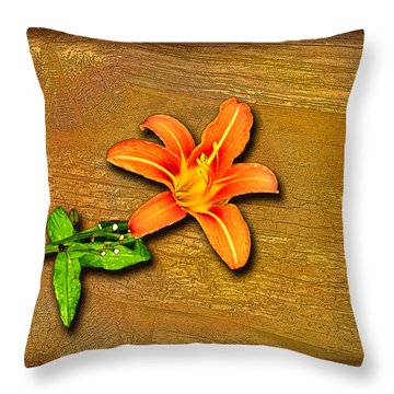Throw Pillow featuring the photograph Day Lily On Wood by Larry Bishop