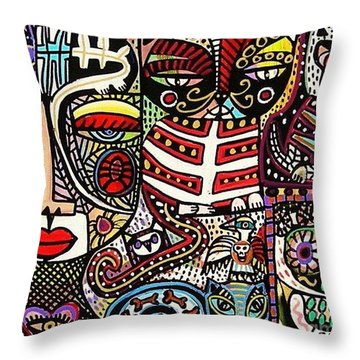 Day Of The Dead Cats Throw Pillow by Sandra Silberzweig