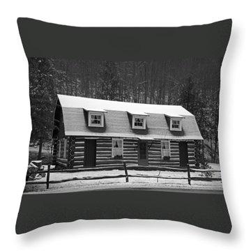 Days Of Yore Log Cabin Throw Pillow by John Stephens