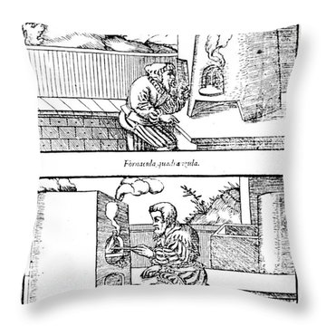 De Re Metallica, Cupellation Furnaces Throw Pillow by Science Source