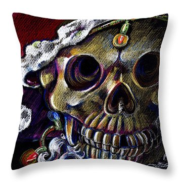 Throw Pillow featuring the drawing Dead Christmas by Nada Meeks