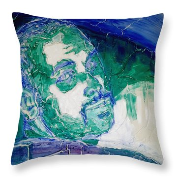 Throw Pillow featuring the painting Death Metal Portrait In Blue And Green With Fu Man Chu Mustache And Cracking Textured Canvas by M Zimmerman