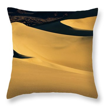 Death Valley And Photographer In Morning Sun Throw Pillow