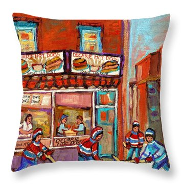 Decarie Hot Dog Montreal Restaurant Paintings Ville St Laurent Streets Of Montreal Paintings Throw Pillow by Carole Spandau