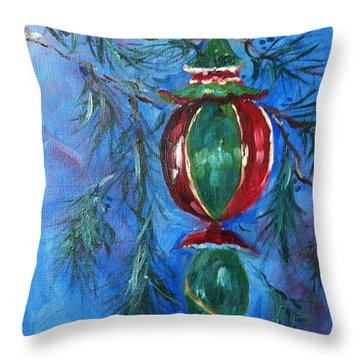 Throw Pillow featuring the painting Deck The Halls by Carol Berning