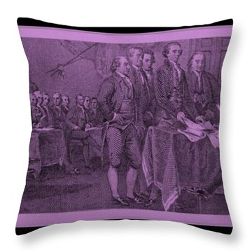 Declaration Of Independence In Pink Throw Pillow by Rob Hans